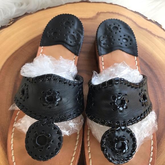 Jack Rogers black leather sandals